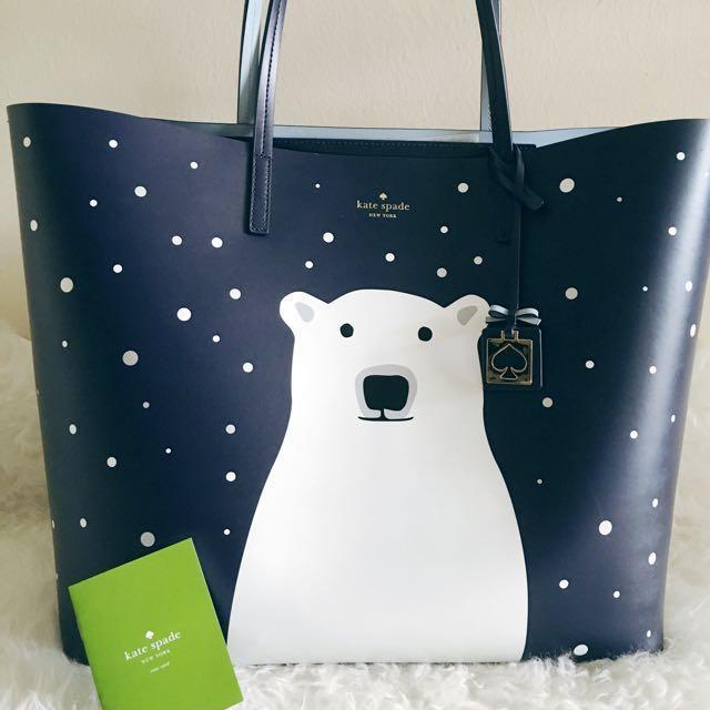 6b9215cb7055 Original) Kate Spade Cold Comforts Navy Polar Bear Large Len Tote ...