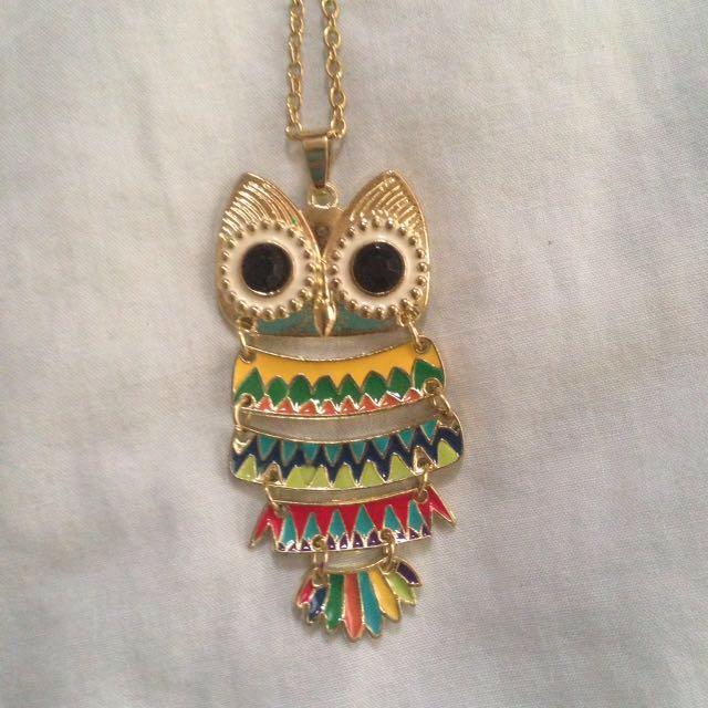 Owl Necklace - rainbow coloured