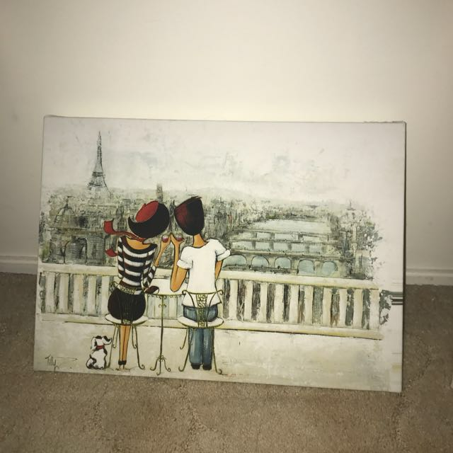 Paris Theme Lady Canvas Painting
