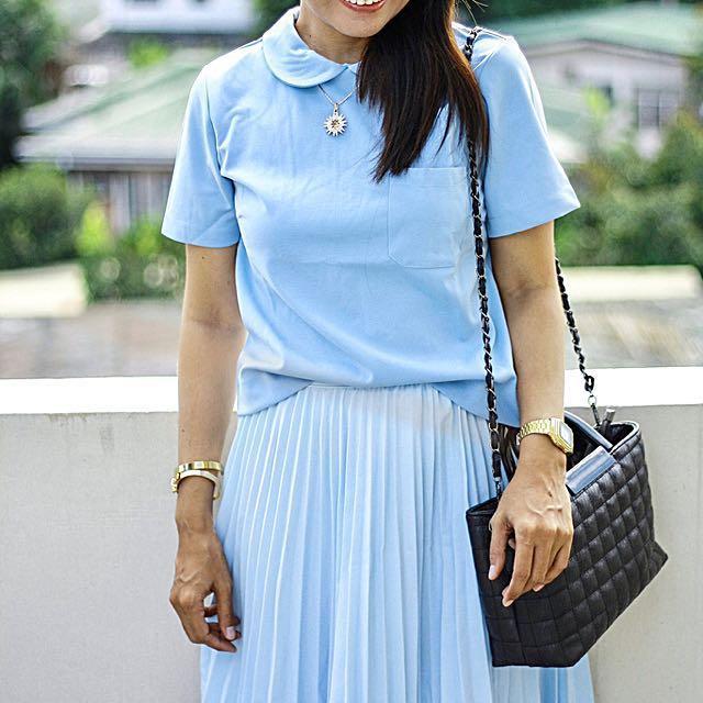 Pastel Blue Peter Pan Collar Blouse