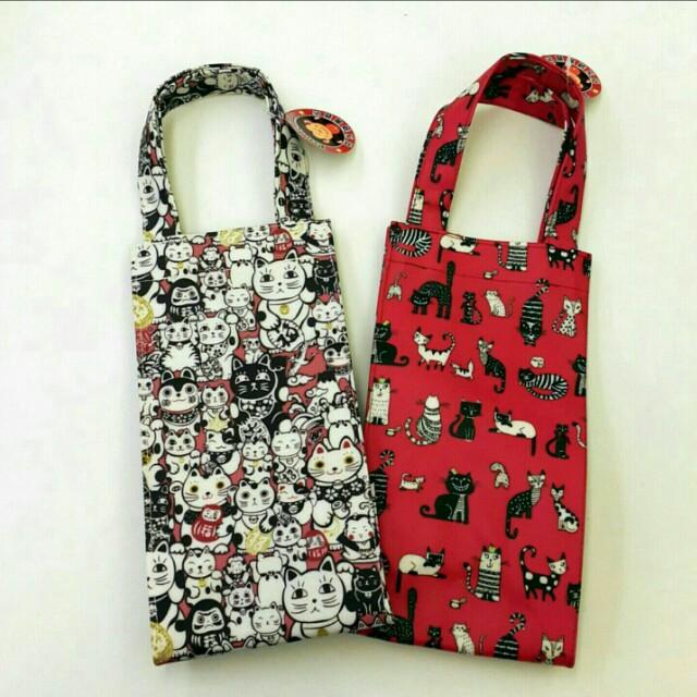 Pin Family貓咪防水飲料袋 水瓶袋 手提包 水壺袋 奶瓶袋 袋子 手提袋