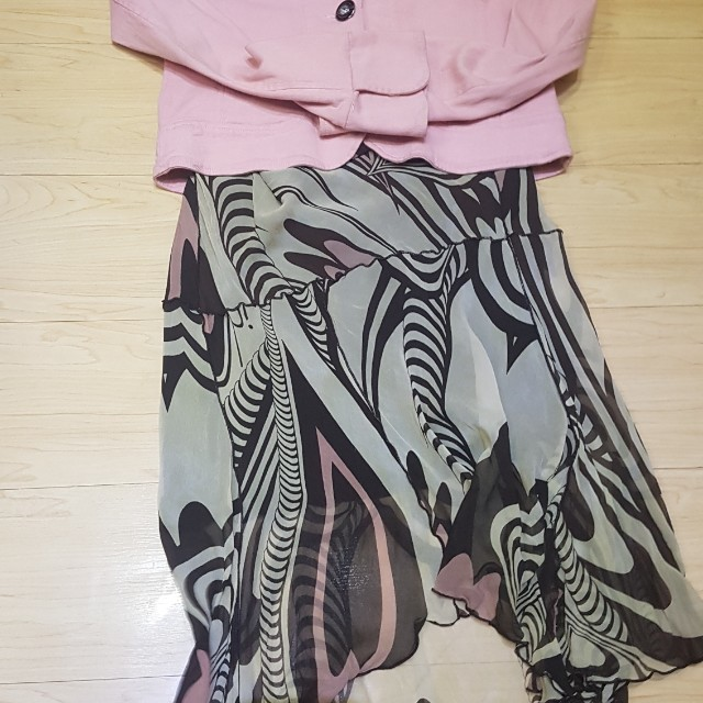Pink Jacket and Printed Skirt