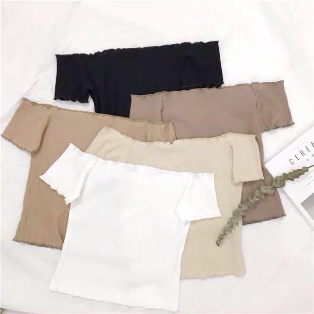 Plain Basic Off Shoulder Knit Ribbed Short Sleeves Top