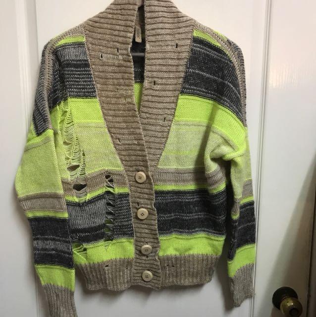 義大利製-品牌PLEASE羊毛針織外套(少穿極新