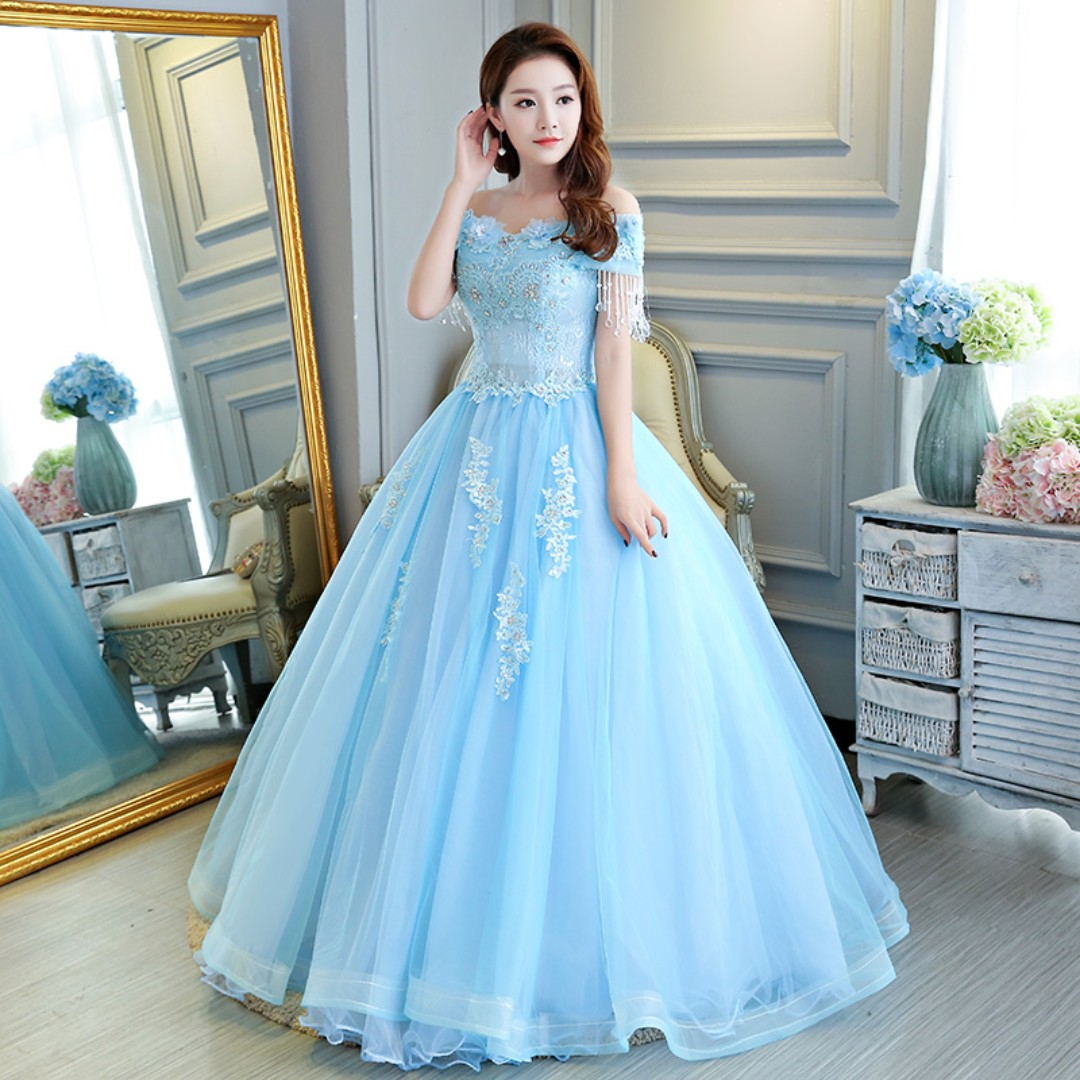 Pre order blue off shoulder puffy princess sleeveless ball wedding ...