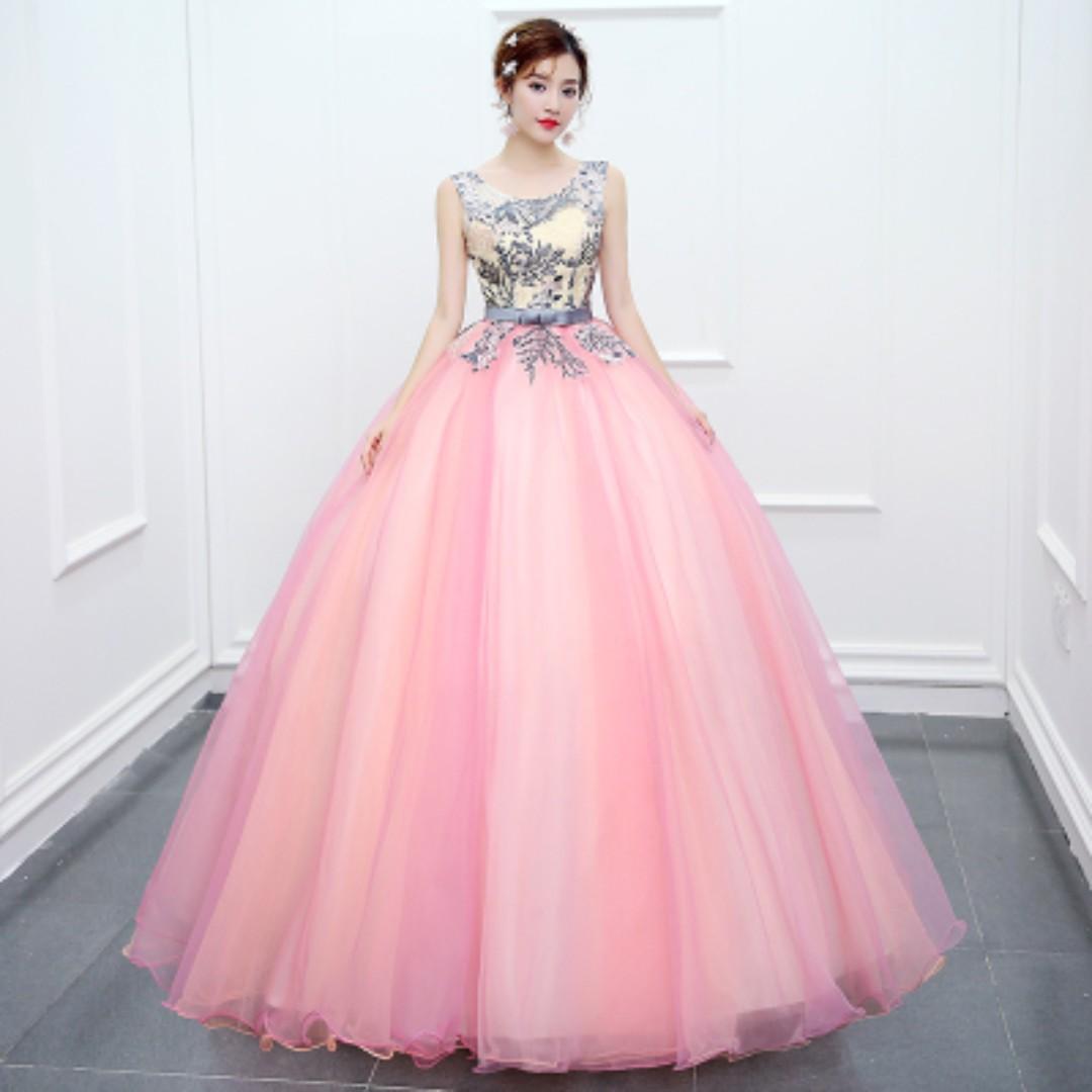 Pre order blue pink puffy princess sleeveless ball wedding bridal gown dress  RB0516