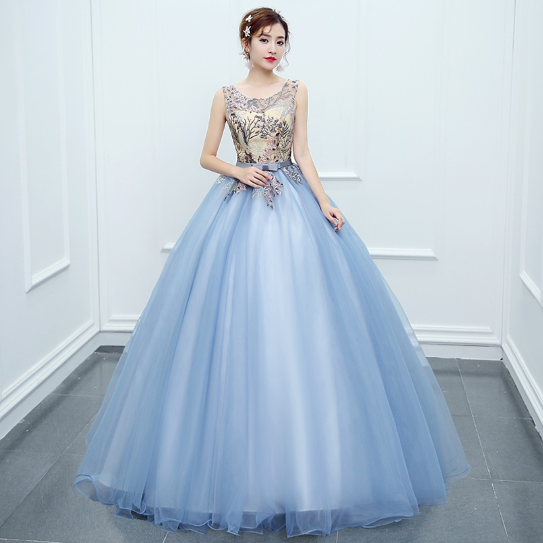 Pre order blue pink puffy princess sleeveless ball wedding bridal ...