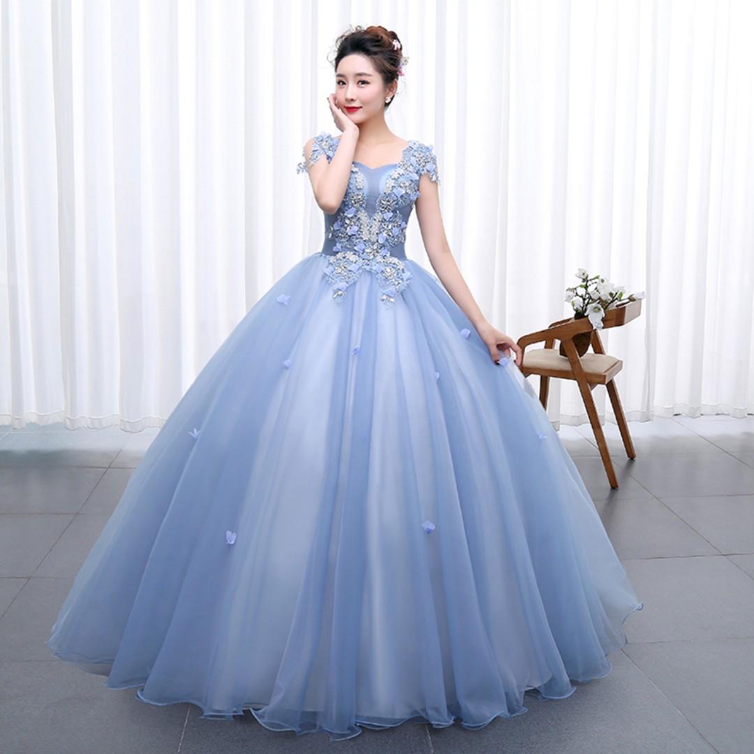 Pre order blue pink puffy princess sleeveless ball wedding bridal gown dress  RB0517