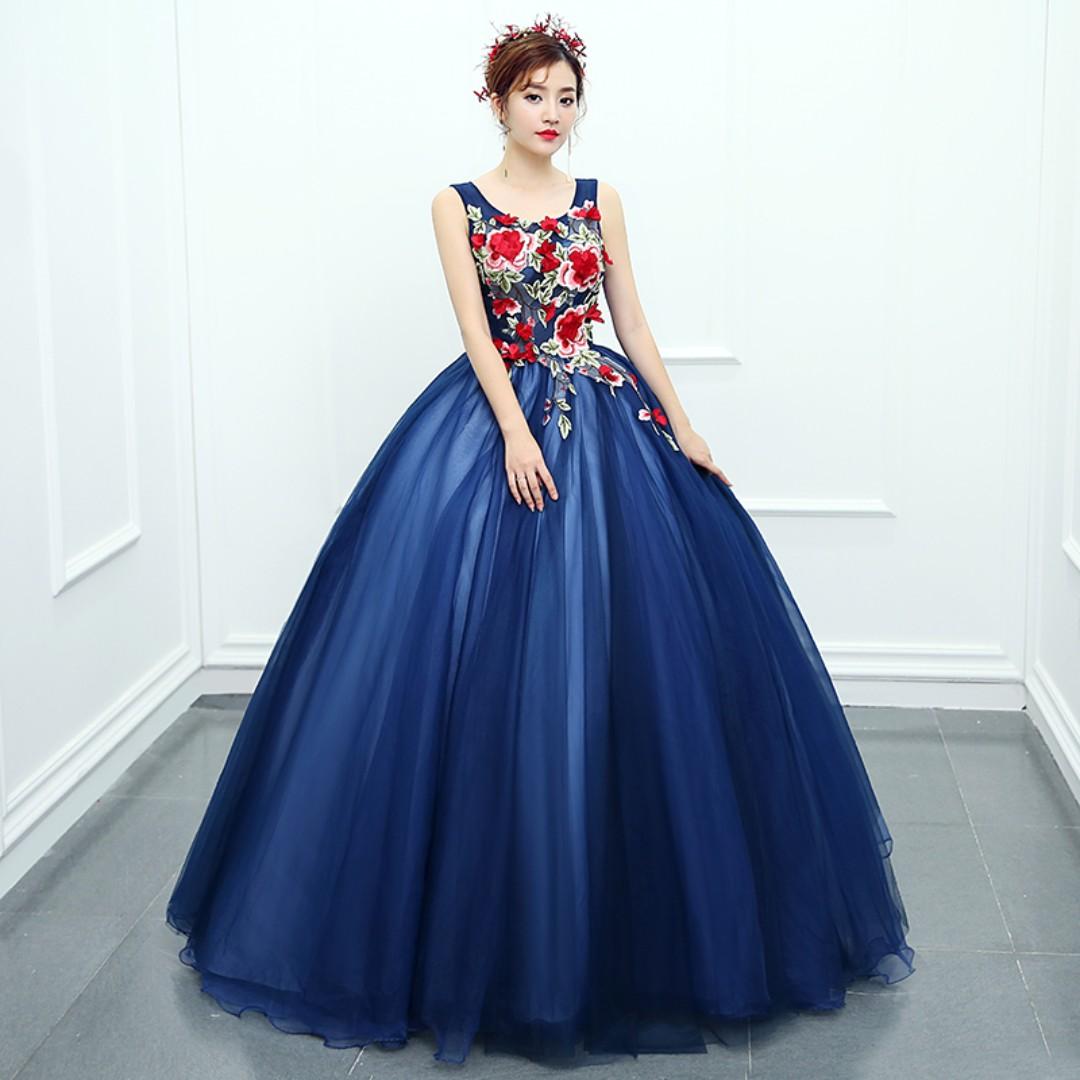 Pre order blue puffy princess sleeveless ball wedding bridal gown dress  RB0520