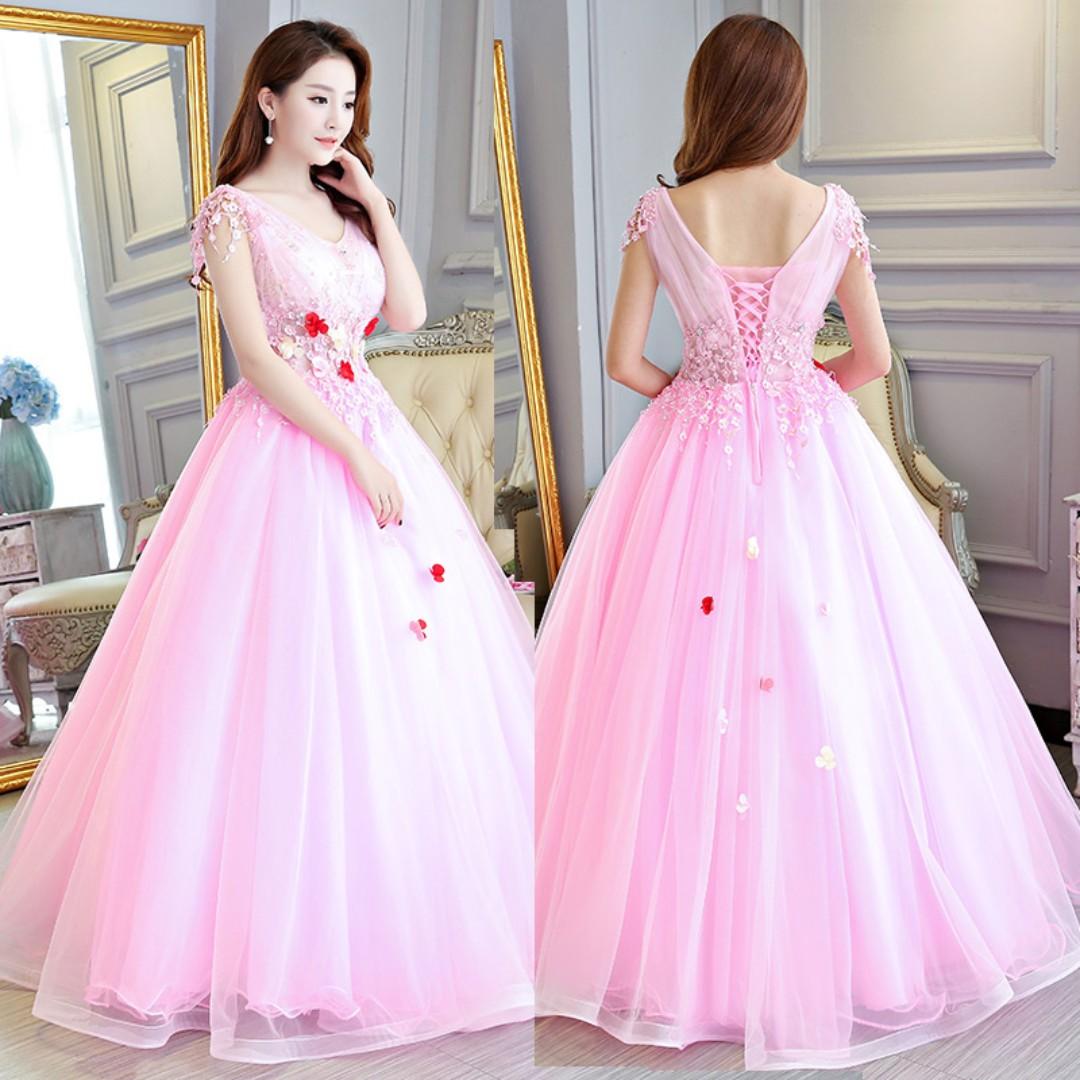 Pre order pink puffy princess sleeveless ball wedding bridal gown dress  RB0518