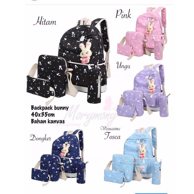 Ransel Wanita 4 in 1 Murah - Tas Bunny Lucu - Tas Sekolah Anak - Ransel Beranak - Backpack - Tas Batam