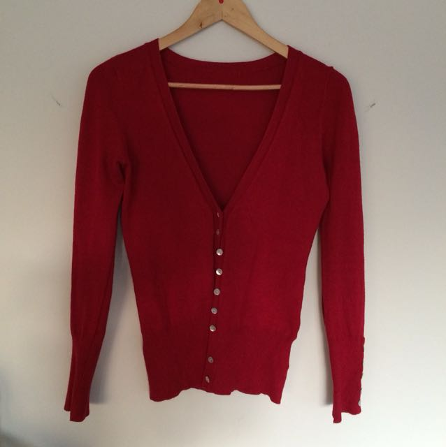 Red button up cardigan