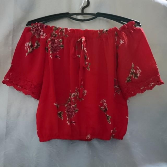 Red floral off shoulderr