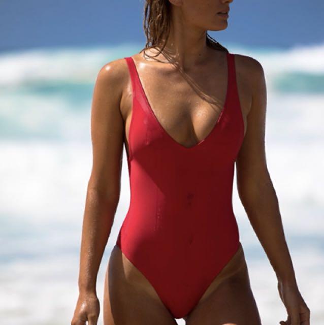 Red one piece bikini
