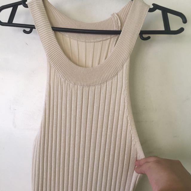 Ribbed Cream Dress