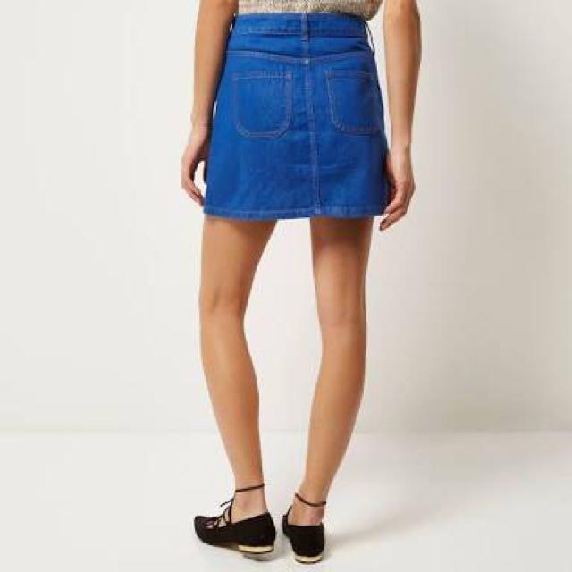 River island denim button up skirt
