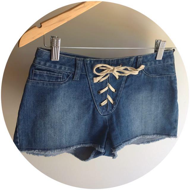 Roxy - Lace Up Shorts Denim