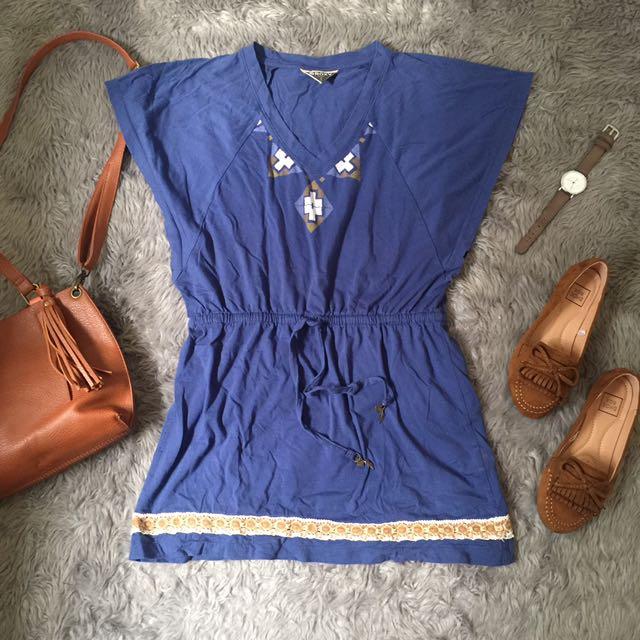Roxy Blue Kaftan Top