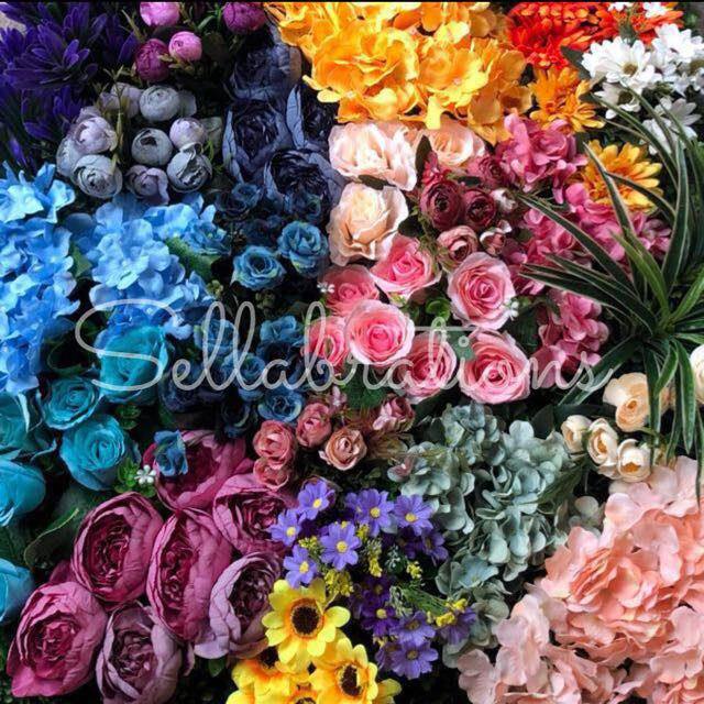 [Sellabrations] - Customised Flower Wall Backdrop Artificial Flowers