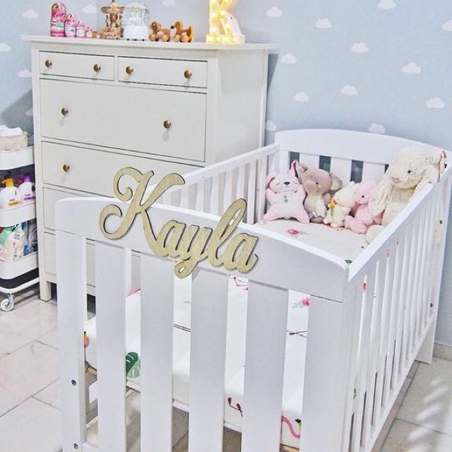 [Sellabrations] - Nursery Room Baby Coy Cradle Baby Name Cutout