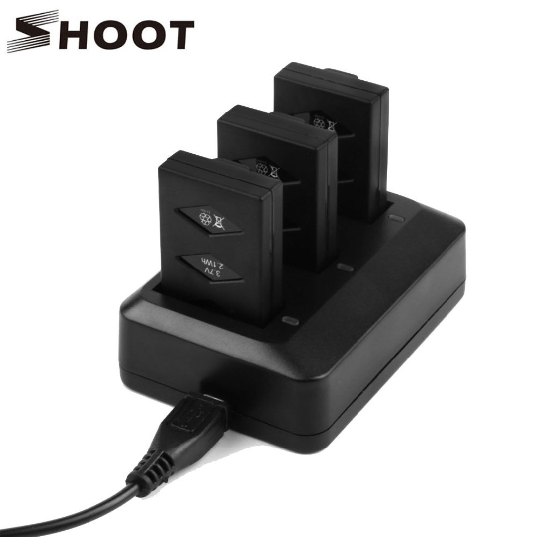 Shoot Triple Charger and 3 Batteries Set for Parrot Mini Drone
