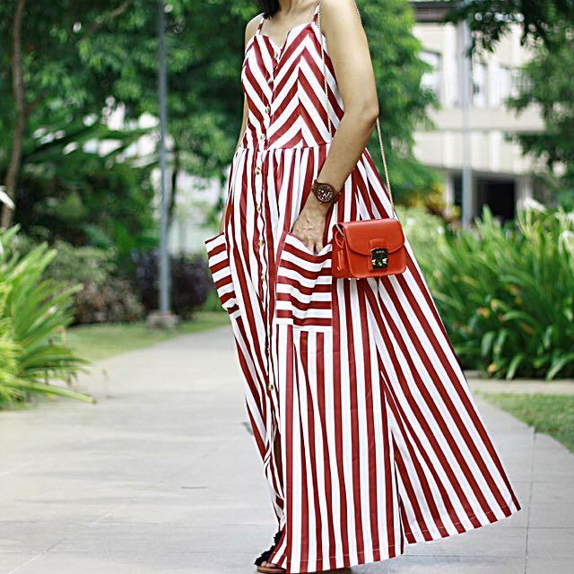 Spaghetti Striped Dress