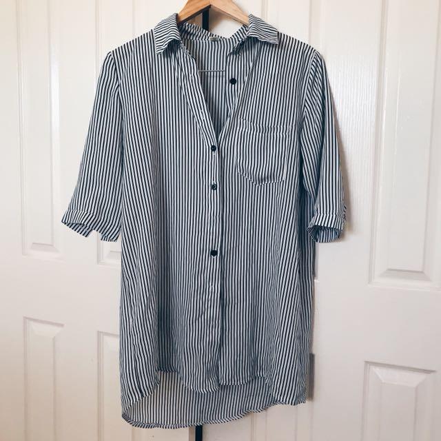 Stripe Pattern Shirt Dress