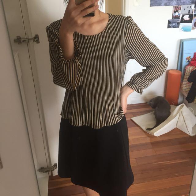 Striped black 3/4 sleeve dress