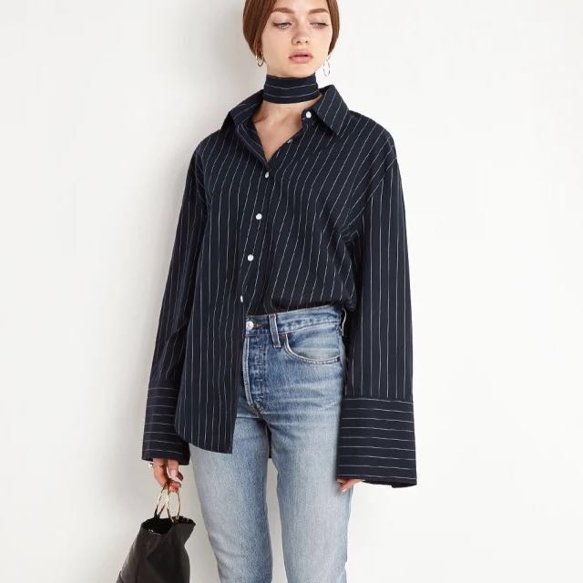 Striped navy and white button up blouse + choker)