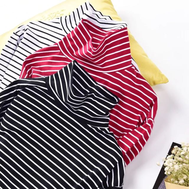 Stripes Turtle High Neck Long Sleeve Top