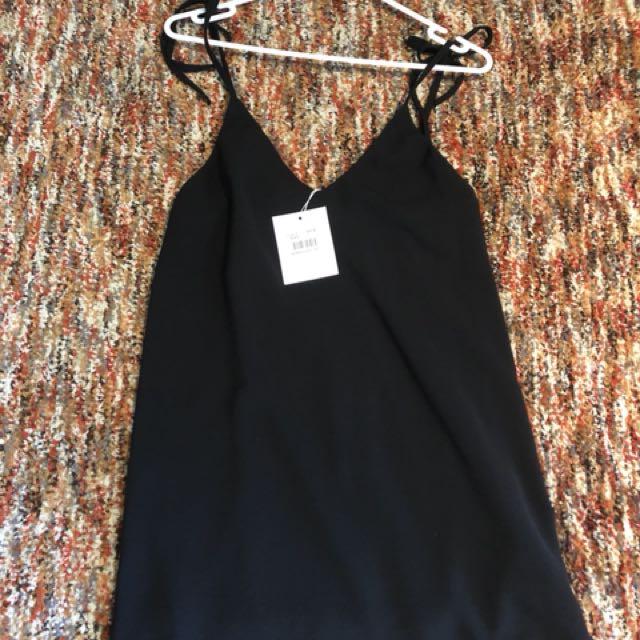 Summer black tie up dress