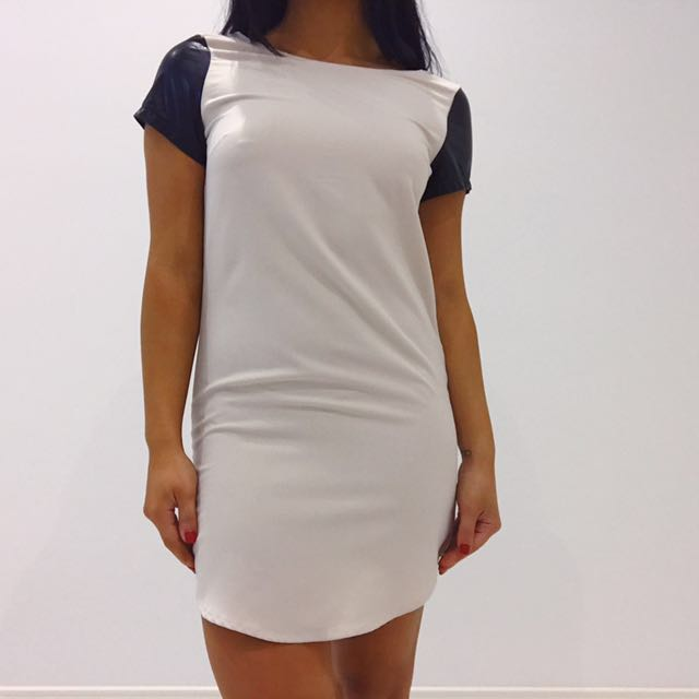 T Shirt Dress With Leather Sleeves