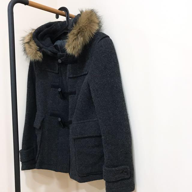 Uniqlo深灰色 牛角釦 大衣 外套 羊毛 保暖