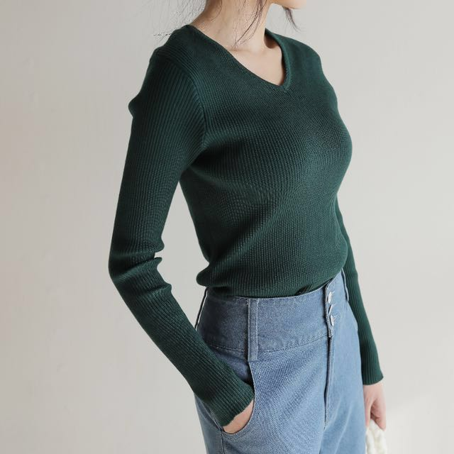 [全新]交叉V領綁帶針織長袖上衣 綠色