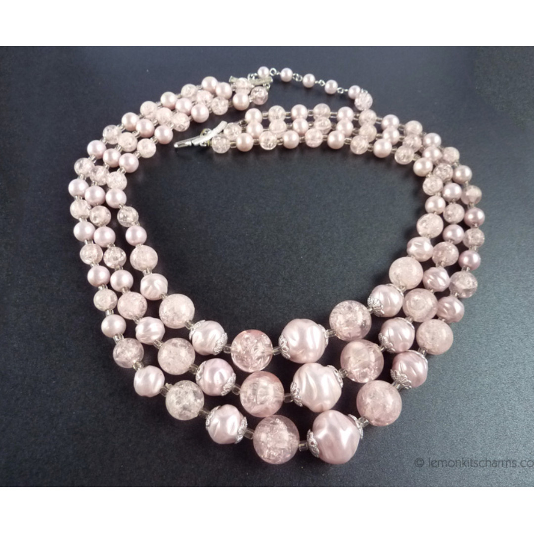 Vintage 1950s Japan Pink Beaded Necklace, nk1070-c