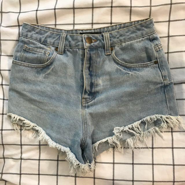 Vintage Style High Waisted Denim Shorts