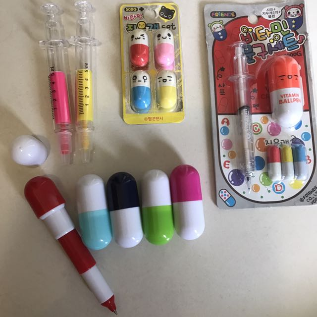 Vitamin capsule pens & erasers, injection highlighters & pacer