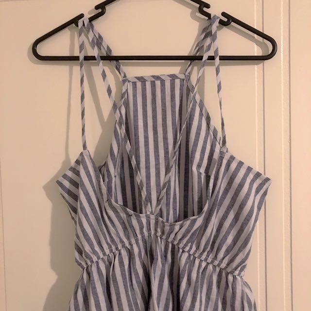 White and Blue Striped Playsuit
