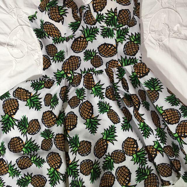 White Cocktail/Sunday Dress (Pineapple design)
