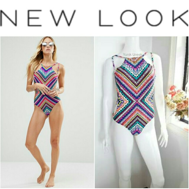 -Yunik- Authentic New Look Multicolor High Leg One-piece Swimsuit