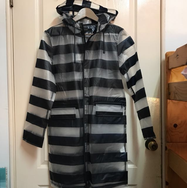 Zara 透明條紋時尚黑白長版雨衣/風衣