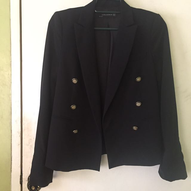 ZARA Double-breasted Black Blazer