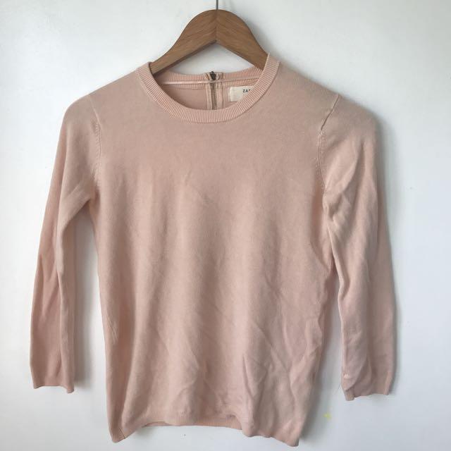 Zara knit baby pink sweater