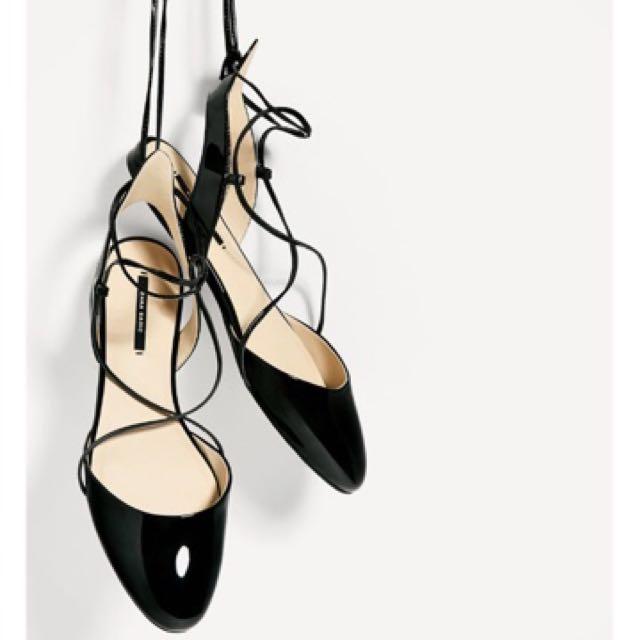 Zara lace up Flats