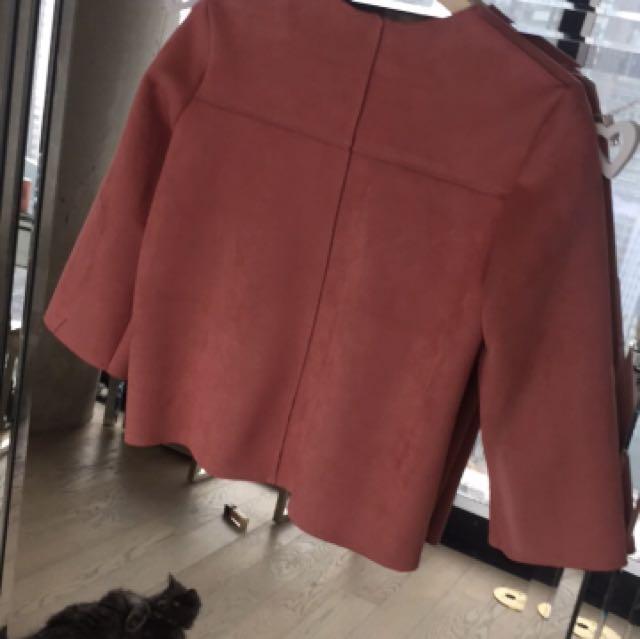 ZARA pink suede shirt M