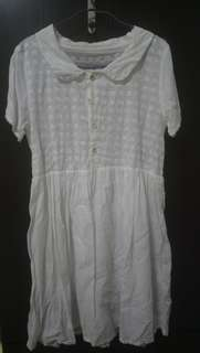 日系白色小象刺繡棉質洋裝