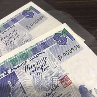 Singapore Ship Low Serial Pair A/65 000888, 000999 UNC