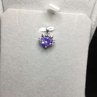 🚚 清倉促銷。紫水晶🔮925銀貓咪墜附鍍銀鍊