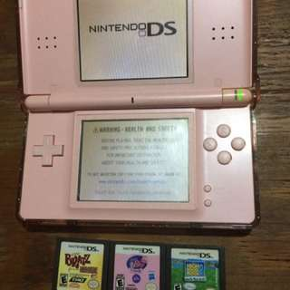 Nintendo DS Lite Pink with 3 games