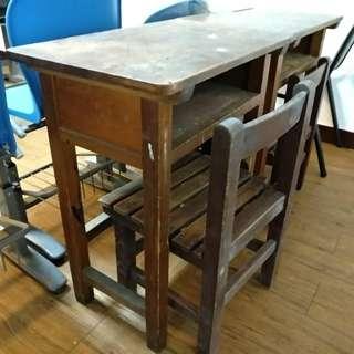 木桌木椅 文創用 國民小學桌椅